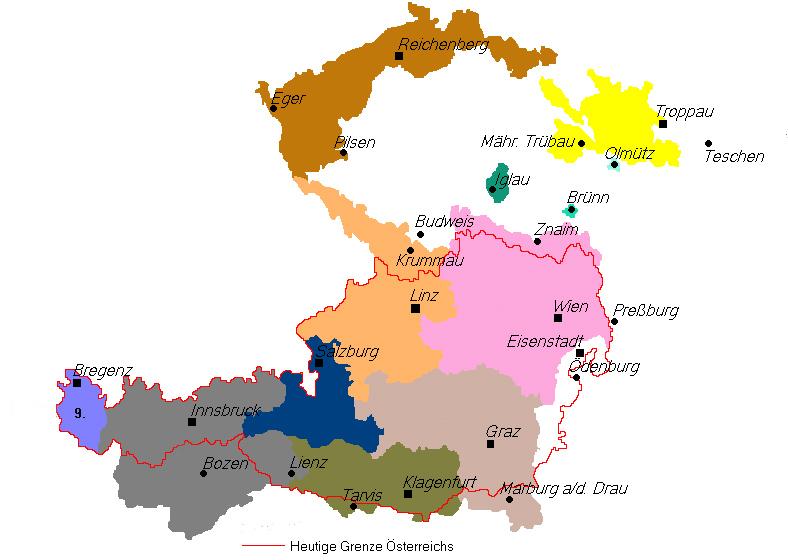 Gebiet der 1918 proklamierten Republik Deutschösterreich und Österreich in den von den Siegermächten 1919 festgelegten Grenzen
