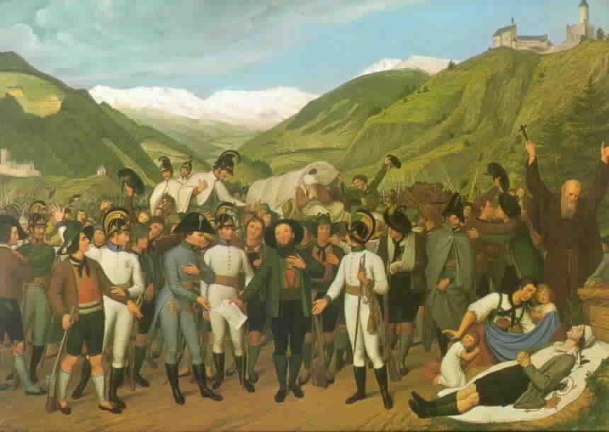 Der österreichische General Chasteler trifft den siegreichen Hofer in Sterzing (Oberes Wipptal), 14. April 1809)