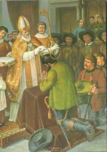 Investitur Hofers zum Statthalter Tirols in der Hofkirche zu Innsbruck, 4. Oktober 1809
